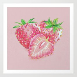 Color pencil Strawberry Art Print