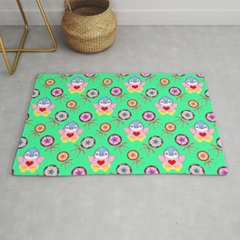 winter baby penguins, retro vintage colorful lollipops, sweet candy holiday green pattern. Nursery Rug