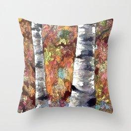 Aspen Trees Panorama Throw Pillow