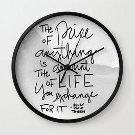 Price (Thoreau Quote) Wall Clock
