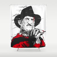 freddy krueger Shower Curtains featuring Freddy by Akyanyme