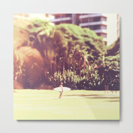 I'll Bring My Board to Work Surfer Hawaii Surfboard Waikiki Beach People Photography  Metal Print