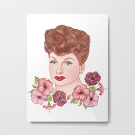Floral Lucille Ball Metal Print