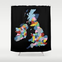 uk Shower Curtains featuring UK on Black by Project M