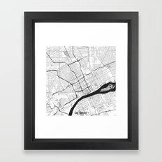Detroit Map Gray Framed Art Print
