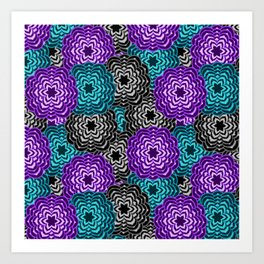 Dahlia Multicolored Floral Abstract Pattern Art Print