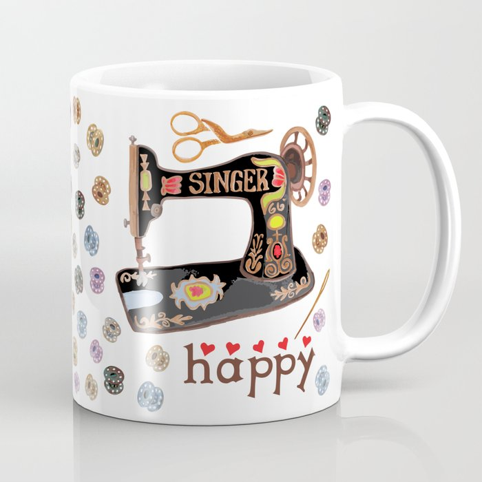 Sew Happy Vintage Singer Machine and Bobbins Coffee Mug