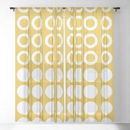 Mid Century Modern Circles And Dots Mustard Yellow Sheer Curtain