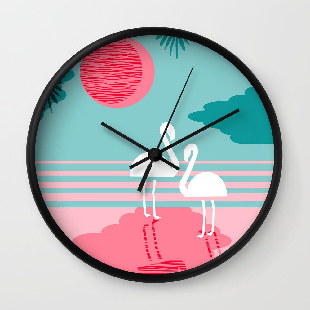 Chill Vibes - memphis retro throwback 1980s 80s neon pop art flamingo  paradise socal vacation Wall Clock