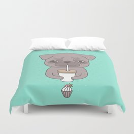Pug, coffee & cupcake Duvet Cover