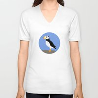 puffin V-neck T-shirts featuring Horned Puffin by Renata Grieco