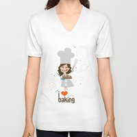 baking V-neck T-shirts featuring Baking MaMa by inkdesigner