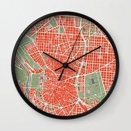 Madrid city map classic Wall Clock