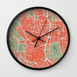 Madrid city map classic Wall Clock