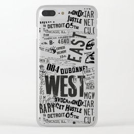 East West Grunge Distressed black white #urban typography Clear iPhone Case