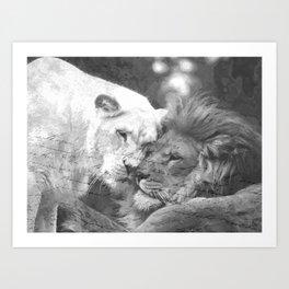 Lion in Love Valentine's Day Art Print