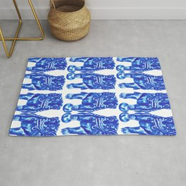 Chinese Guardian Lion Twins in Blue Porcelain Rug