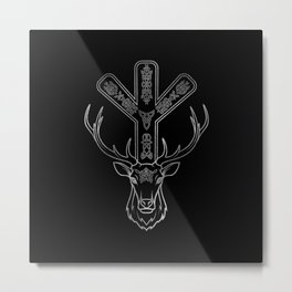 Algiz  Rune and Deer in Silver Metal Print
