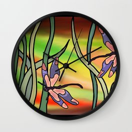 dragonflies in the grass on a colored background Wall Clock
