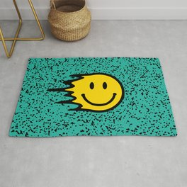 Smiley Face on Turquoise Leopard Print Rug