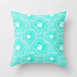 'I Love You Umlaut' Valentine's Pattern - Teal Pale Sea Throw Pillow