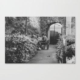 A Corner of Paris / Man Playing Cards Canvas Print