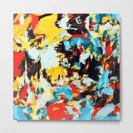 psychedelic geometric splash abstract pattern in blue red yellow brown Metal Print