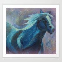 Mystical Horse In Blue Art Print