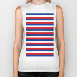 blue white red stripes Biker Tank