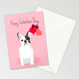French Bulldog love hearts balloons frenchies white and black spot dog breed gifts Stationery Cards