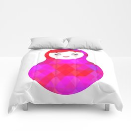 Russian doll matryoshka screw up one's eyes with bright rhombus on white background, pink colors Comforters