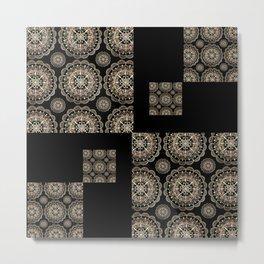 Black and Rose-Gold Floral Mandala Patch-Work Textile Metal Print