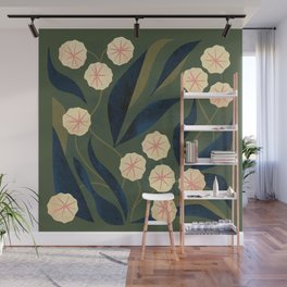 Green Floral Wall Mural