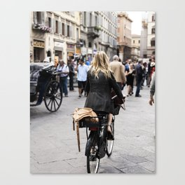 The Girl On The Bike Canvas Print