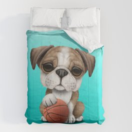 British Bulldog Puppy Playing With Basketball Comforters