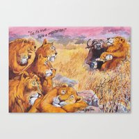 vegetarian Canvas Prints featuring vegetarian lion by Rose Rigden