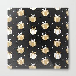 Black Gift Package Pattern Metal Print