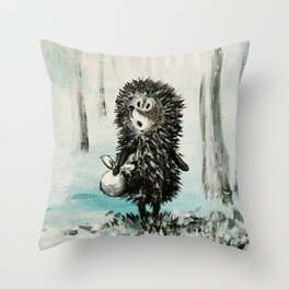 Hedgehog in the fog Throw Pillow