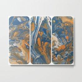 Blue Gold Acrylic Pour Panels Metal Print