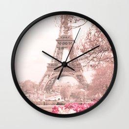 Paris Nursery, White, Eiffel Tower Wall Clock