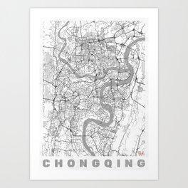 Chongqing Map Line Art Print