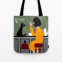 bonjour Tote Bags featuring Bonjour by Natallia Pavaliayeva