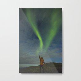 Northern lights man Metal Print