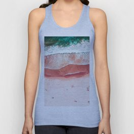 Pink Beach Print, Aerial Beach, Bondi Beach, Aerial Photography, Ocean Waves, Waves Print, Sea Print, Modern Home Decor Print Art Unisex Tank Top