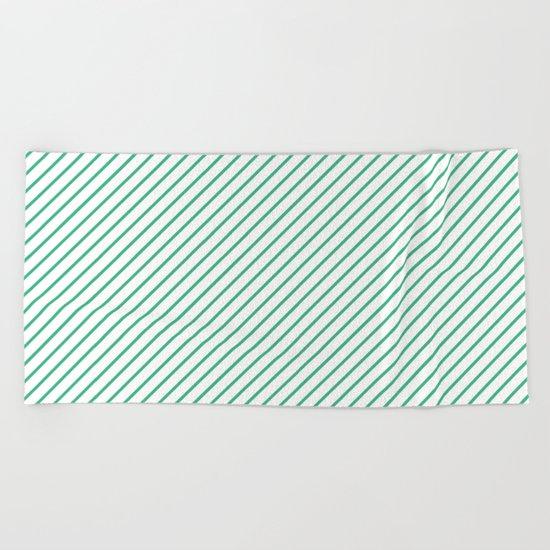 Diagonal Lines (Mint/White) Beach Towel