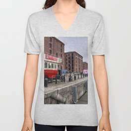 Liverpool Docks Bus  Unisex V-Neck