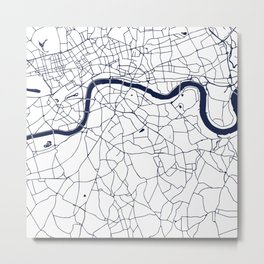 London White on Navy Street Map Metal Print