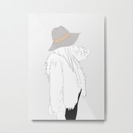 Gray Fall Fashion Hat Vest Girl Metal Print
