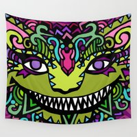 cheshire cat Wall Tapestries featuring CHESHIRE by AZZURRO ARTS