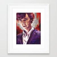 sherlock holmes Framed Art Prints featuring Sherlock Holmes by Alice X. Zhang